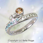 トパーズ/ブルートパーズ/ダイヤモンドリング ご結婚10周年記念リング:R-003