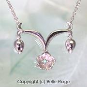 ブルーダイヤモンド ユウナの花のネックレス:N-011