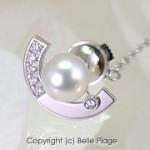 パール/ダイヤモンド リバーシブルネクタイピン 還暦のお祝い:S-001