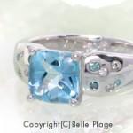 ブルートパーズ ダイヤモンド エンゲージリング(婚約指輪):E-010