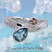 海をイメージしたアクアマリンのエンゲージリング(婚約指輪):E-013