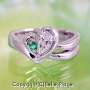 ダイヤモンド/エメラルド エンゲージリング(婚約指輪):E-017
