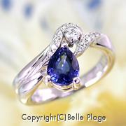 非加熱サファイアとダイヤモンドのエンゲージリング(婚約指輪):E-019