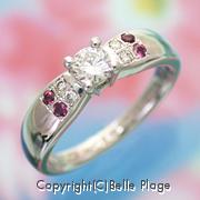 ダイヤモンド/ガーネット 8周年記念のリング:R-013